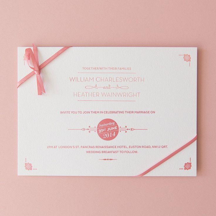 St Pancras Collection Letterpress Invitation Salmon Pink