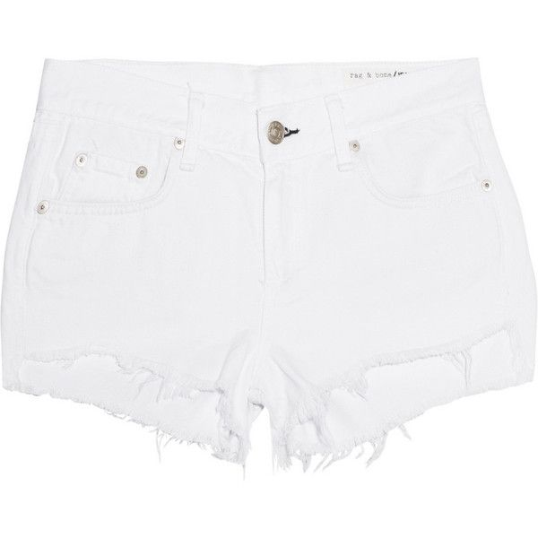 Rag & bone Cut-off denim shorts (110 CAD) ❤ liked on Polyvore featuring shorts, white, jean shorts, cutoff shorts, frayed jean shorts, denim shorts and cut off shorts