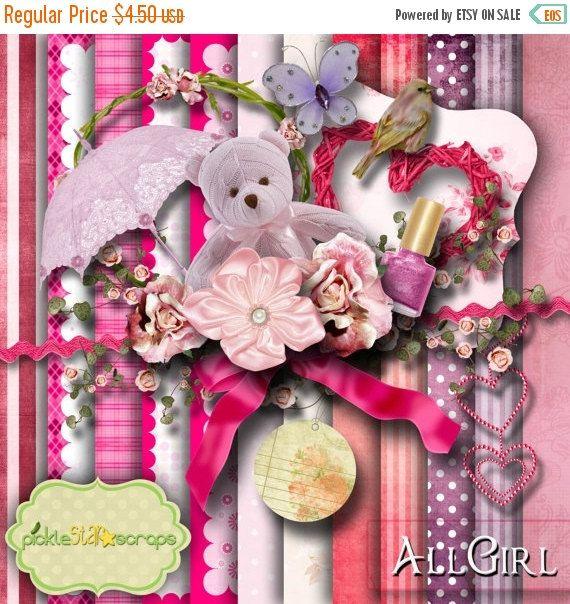 ON SALE All Girl  Digital Scrapbook Kit  by PickleStarScraps