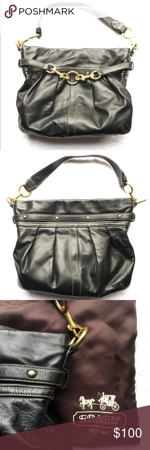 COACH Hamptons Belted Leather Hobo Shoulder Bag Coach Hamptons Belted Leather Pleated Hobo Shoulder Bag 10205  Top zipped closure with leather pull.  Inside zipped pocket and two slide pockets.  Gold tone solid heavy hardware.   Measures 13'' long and 12'' high Excellent Gently Used Condition   9.5'' shoulder strap drop Coach Bags Shoulder Bags