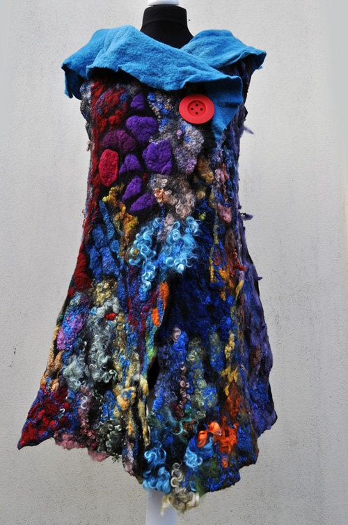 Vest, felted, felt, wool, blue, brown, pink, purple, yellow, black, green, fibre art, Aleksandrab Winiarska