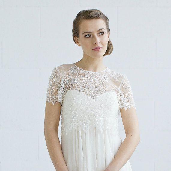 Best 25 wedding gown cover up ideas on pinterest cover up wedding cover up bridal lace top wedding topper ivory wedding bolero beaded junglespirit Images