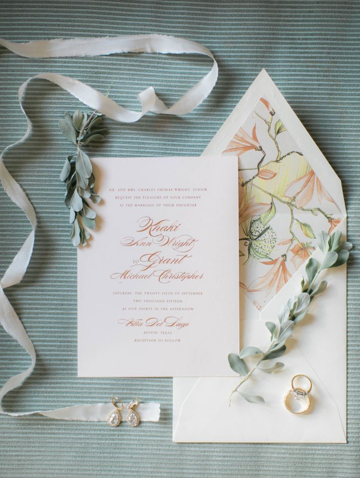 navy blue and kelly green wedding invitations%0A Peach script and floral liner makes for an elegant wedding invitation set