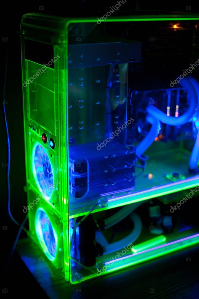 Transparent Computer Liquid Cooling Light Stock Photo Ad