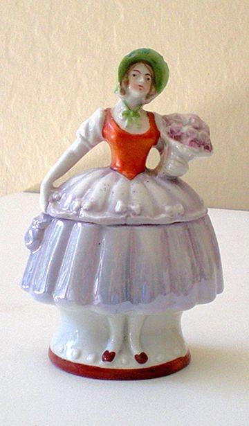 lady half doll style powder box from Germany