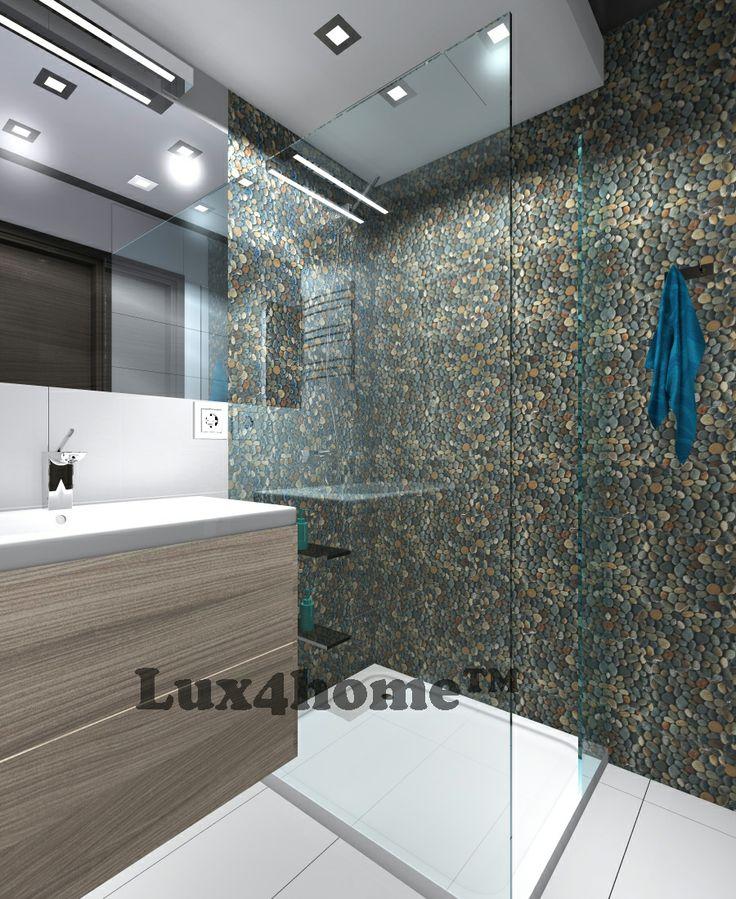 Prysznic z otoczaków Dark Ocean 30x30 od Lux4home™. Projekt i realizacja Fabryka Wnętrz M. Staniec.