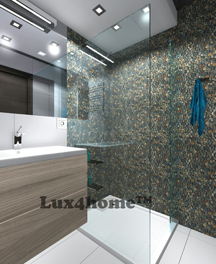 Pebble mosaic Dark Ocean 30x30 - Lux4home™. Natural pebble Shower...