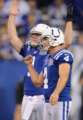 Colts kicker Adam Vinatieri and punter Pat McAfee signal the field goal is good to put the Colts up 24-23 in the second half of Sunday's game at Lucas Oil Stadium on December 9, 2012. The Colts won 27-23. (Matt Detrich / The Star)