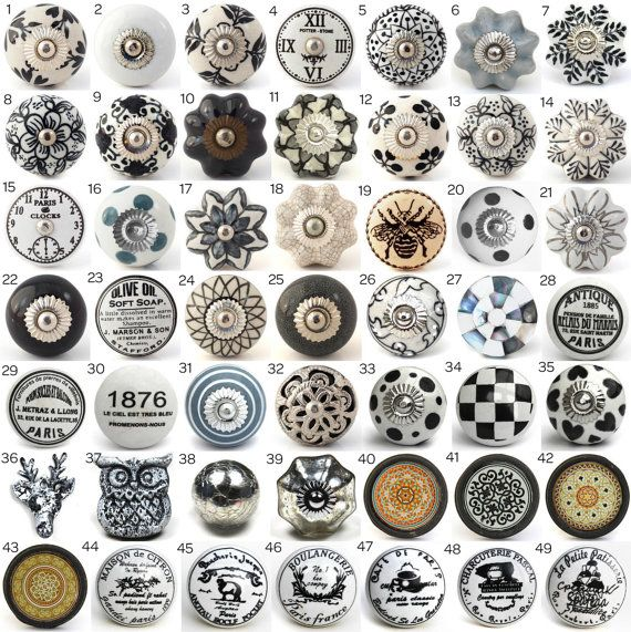 Vintage Ceramic Knobs, Ornamental Door Knobs with Various Black, White & Grey Designs, Kitchen Cabinet Handle, Cupboard or Drawer Pulls