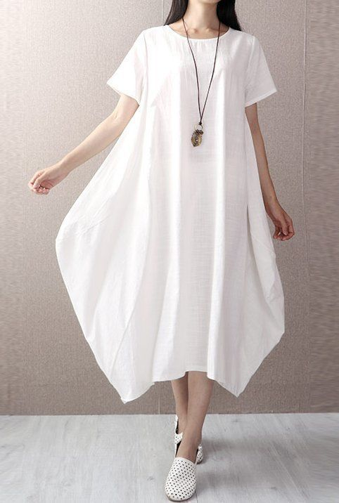 New women loose fit dress maxi long length white pocket robe size m L XL 2XL #Unbranded #Maxi #Casual
