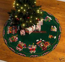 "Bucilla Candy Express Train ~ 43"" Felt Christmas Tree Skirt Kit #86158, Snowman"