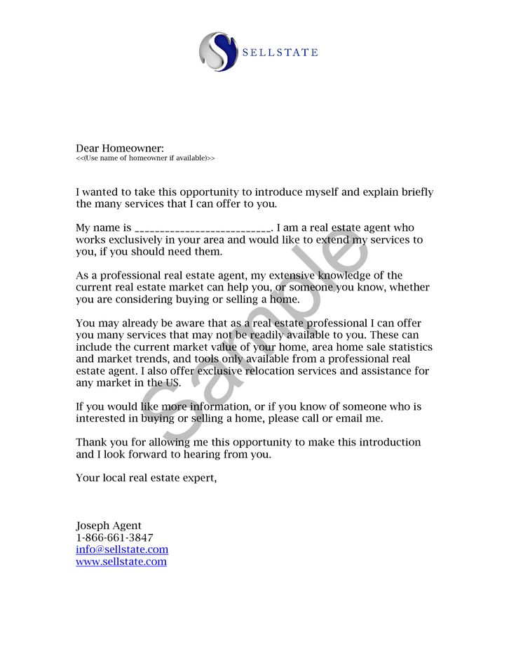 Real Estate Letters of Introduction Introduction Letter Real Estate - sample letter of appointment
