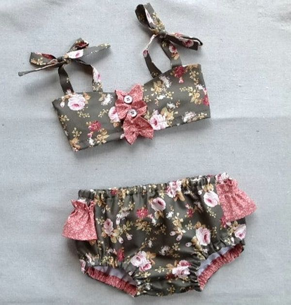 Easy-Sew Girls Bathing Suits for Summer. My mom made some of our swimsuits when i was little.