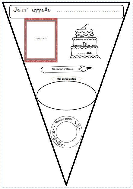 """Mignon et simple! Création d'un fanion (""""une banderole"""") pour se présenter et décorer la classe. Production écrite (Niveau A1 du Cecr/""""del MCERL"""")."""