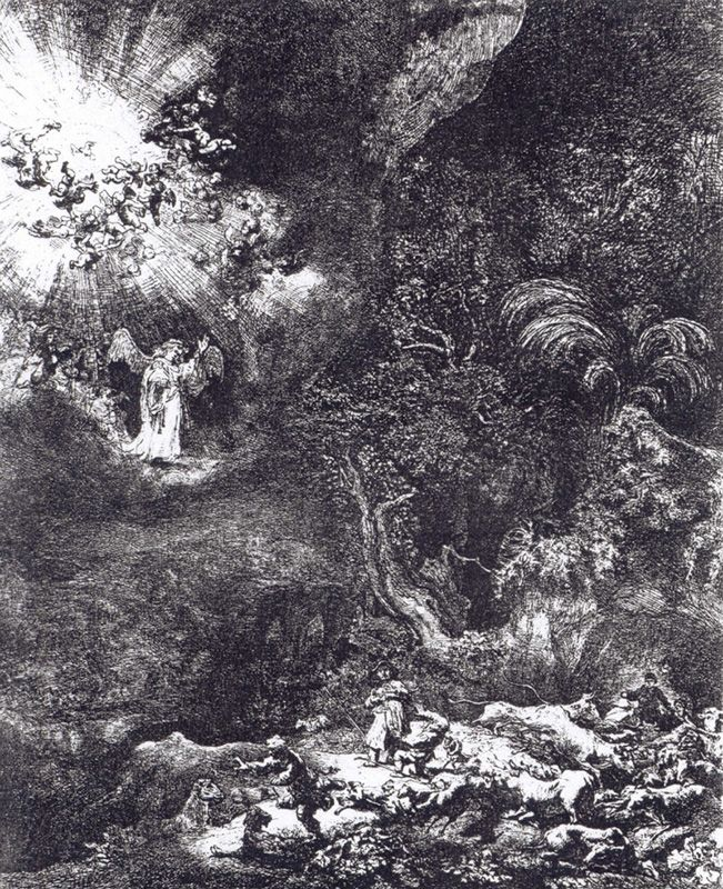 Rembrandt van Rijn (1606-1669), The Annunciation to the Shepherds, 1634, etching, courtesy of the National Museum in Gdańsk, photo: kolekcje.mkidn.gov.pl This painting from the Urban Museum in Gdańsk was taken to the Soviet Union.