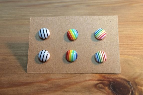 Small Stud Earrings Set - Set of Three Earrings - Earring Deal - Striped…