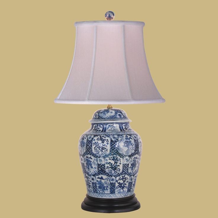 white lamps white decor jar lamp ginger jars blue and white table. Black Bedroom Furniture Sets. Home Design Ideas
