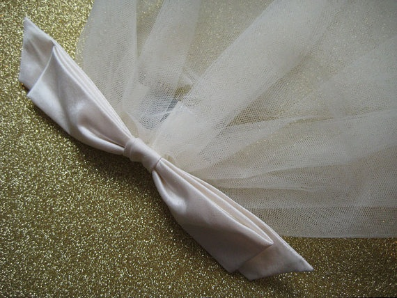 Wedding Veil Headpiece Silk Bow & Short by LisaCritcherMilliner, £110.00