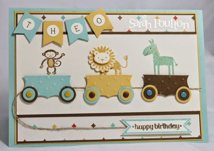 """Stampin' Sarah!: Zoo Babies Birthday Train Card -Curly Label punch cut in half to create train carriages -stamped 'Theo' using Simply Serif Mini Alphabet stamps  -Perfect Polka DotsEmbossing Folder -wheels - 1/2"""" and 3/4"""" circle punches topped with a candy dot - bitty banner sentiment and framelit -banner punch"""