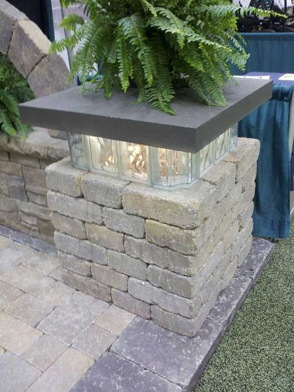 This glowing glass-block will enhance the look of a patio space in the evening.