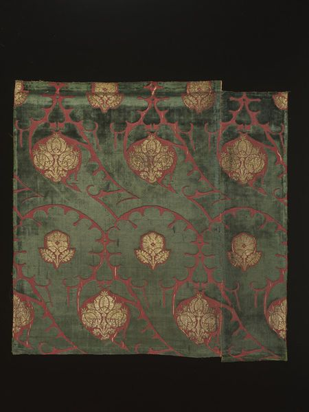 Woven silk | V 15th century Italy Voided silk velvet, brocaded in gold.