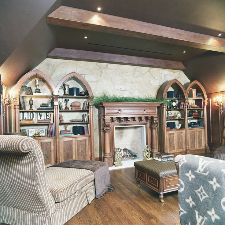 Gothic arch inspired built in cabinetry