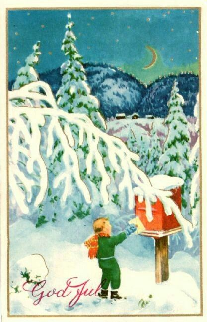 Julekort gutt sender julekort Paul Lillo-Stenberg Utg Mittet stemplet 1957