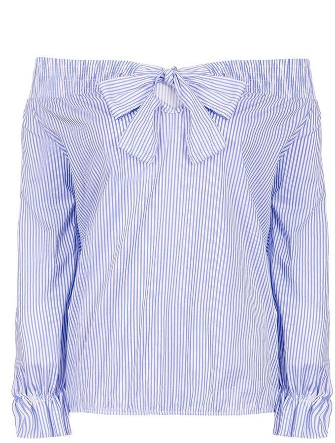 Blue And White Stripe Bardot Bow Top