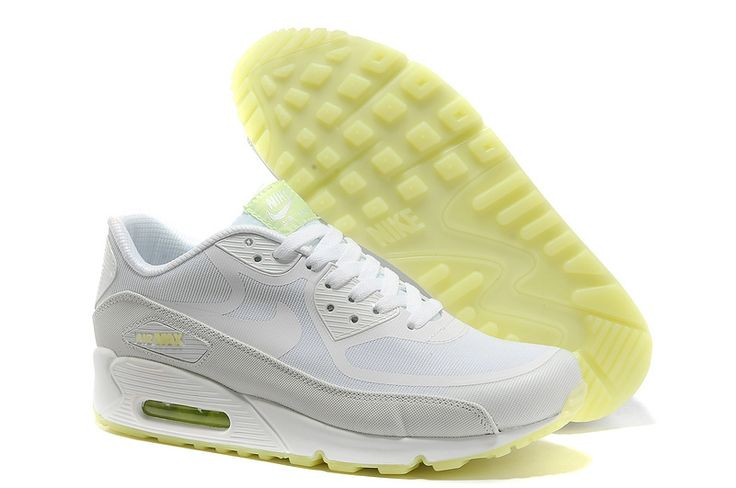 Nike Air Max 90 Hyperfuse PRM Neon Mens Running Shoes White