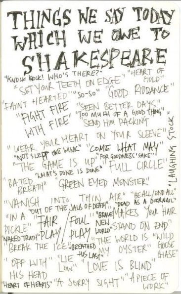 "Heard a teacher share something one of his high school English students said.  ""I don't know why everyone thinks Shakespeare is so great – his writing is full of cliches.""                                                                                                                                                      More"