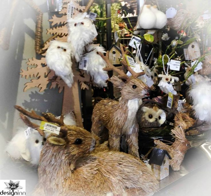 Deer an owls for a natural style Christmas display