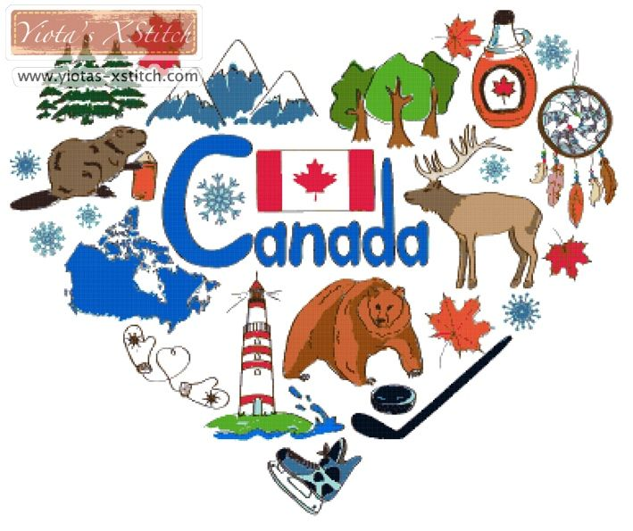 Canada heart cross stitch kit | Yiotas XStitch