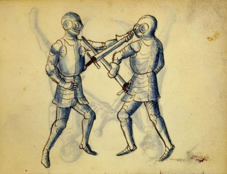 Cod. 11093, 22v: Book on Swordsmanship and Wrestling, mid-15th c. Austrian National Library, Public Domain