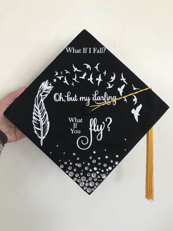 Graduation cap decoration. Feathers. Birds. What if I fall? Oh, but my darling w