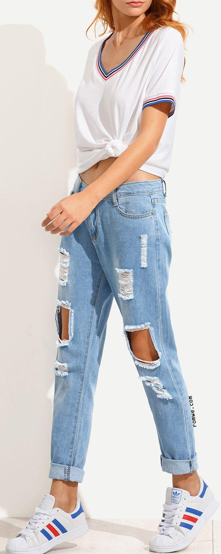 die besten 25 wei e zerrissene jeans ideen auf pinterest. Black Bedroom Furniture Sets. Home Design Ideas