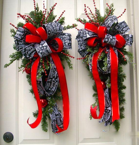 Red Christmas Wreath Swag,  Christmas Swag Pair, Traditional  Christmas Decor, Chalkboard Ribbon Swag,