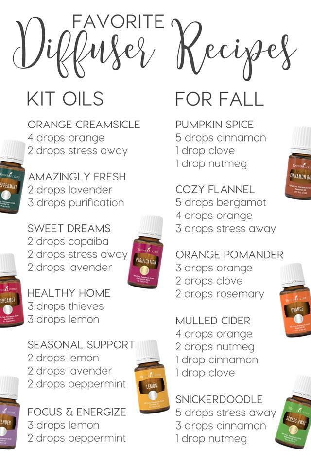 Favorite Diffuser Recipes using the oils in the Premium Starter Kit and recipes perfect for fall. Diffusing Young Living essential oils keep your home smelling amazing and toxin free for the whole family!! ❤️ #nomorecandles