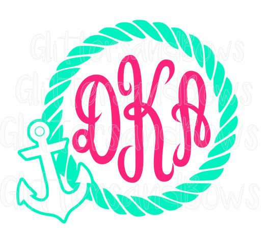 Lilly P & Glitter Monogram Initial Anchor with Rope Circle Vinyl Decal Sticker, Nautical, Yeti, RTIC Decals, Ocean, Wedding by GlittersandBows on Etsy