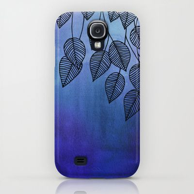 Midnight Blue Garden - watercolor & ink leaves iPhone & iPod Case $35.00