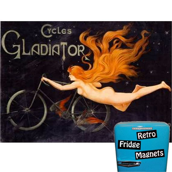Retro Gladiator Cycles Magnet  Free Shipping by RetroFridgeMagnets, $2.00
