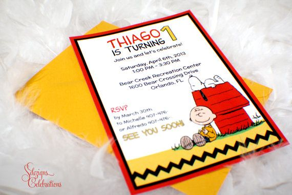 Charlie Brown and Snoopy Birthday Invitations by SDezigns on Etsy