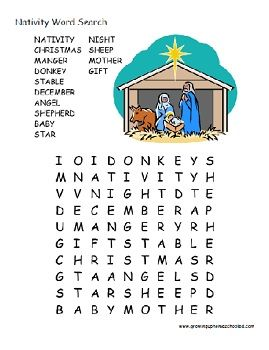 Nativity Word Search (free printable). Good idea, but create my own with simpler words.