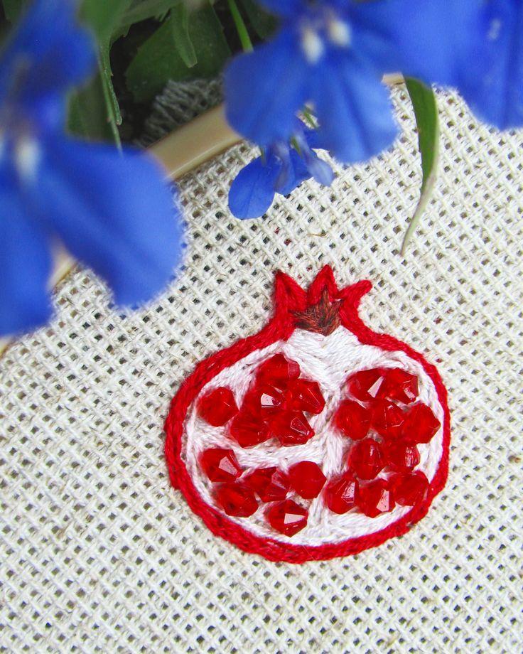 Future brooch #brooch #embroidery #handmade #japan #pomegranate #garnet #embroideredbrooch