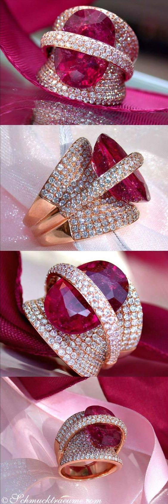 Rubellite with diamonds, set in rose gold.