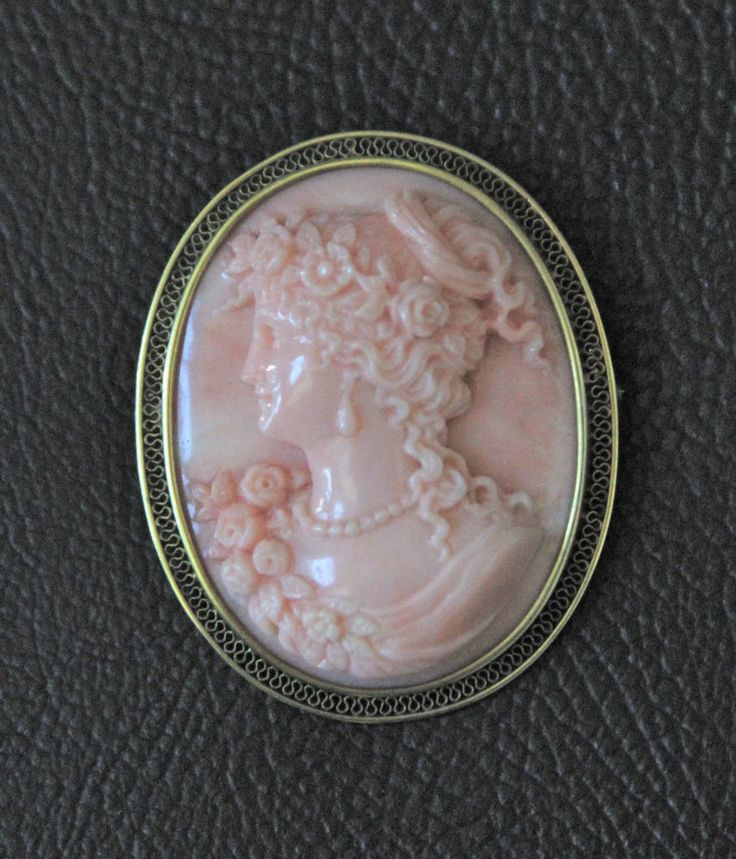 Italian Coral Finely Carved Cameo in 18K Frame, Late 19th Century   eBay