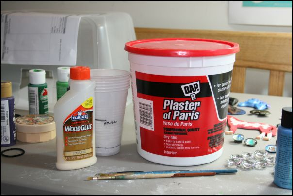 Silicon mold, Plaster of Paris, Elmer's Wood Glue, her formula and brushes you will never use for paint again...