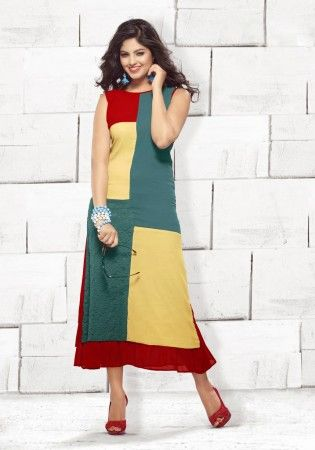 Yellow, Red And Blue Viscose Georgette Ready Made Kurti