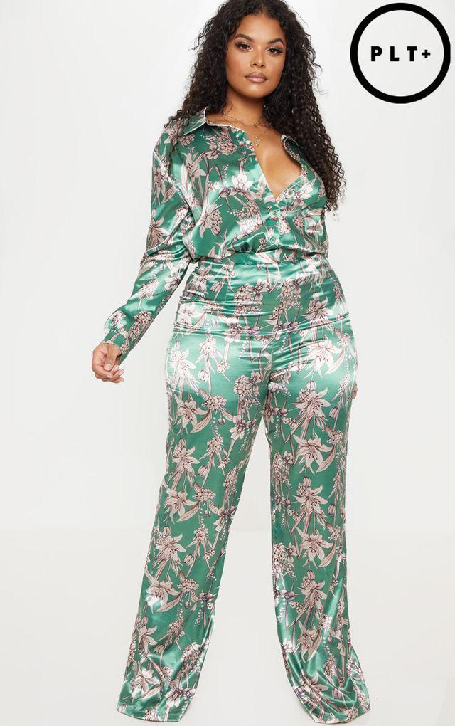 8da86054ac6 Plus Green Satin Floral Wide Leg Pants