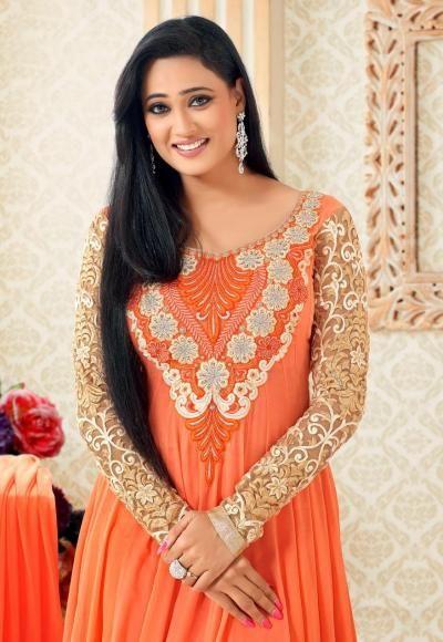 Flasher Light Orange Georgette Anarkali from Shweta Tiwari Collection