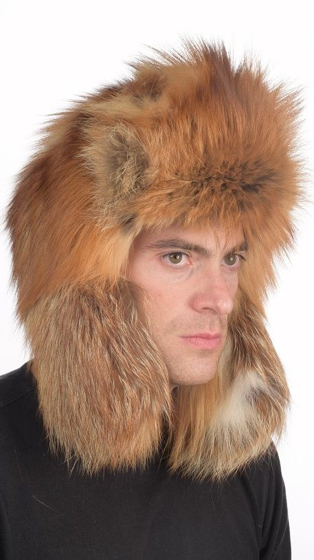 Gold fox fur hat for men. Russian style fur hat. Made in Italy.  www.amifur.co.uk
